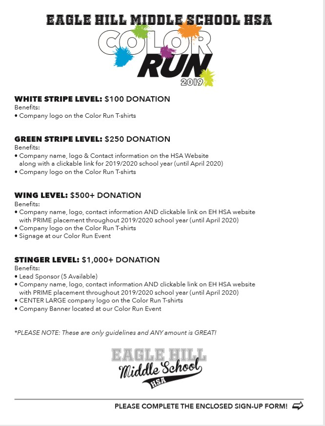 Color Run Donation Form page 1 image