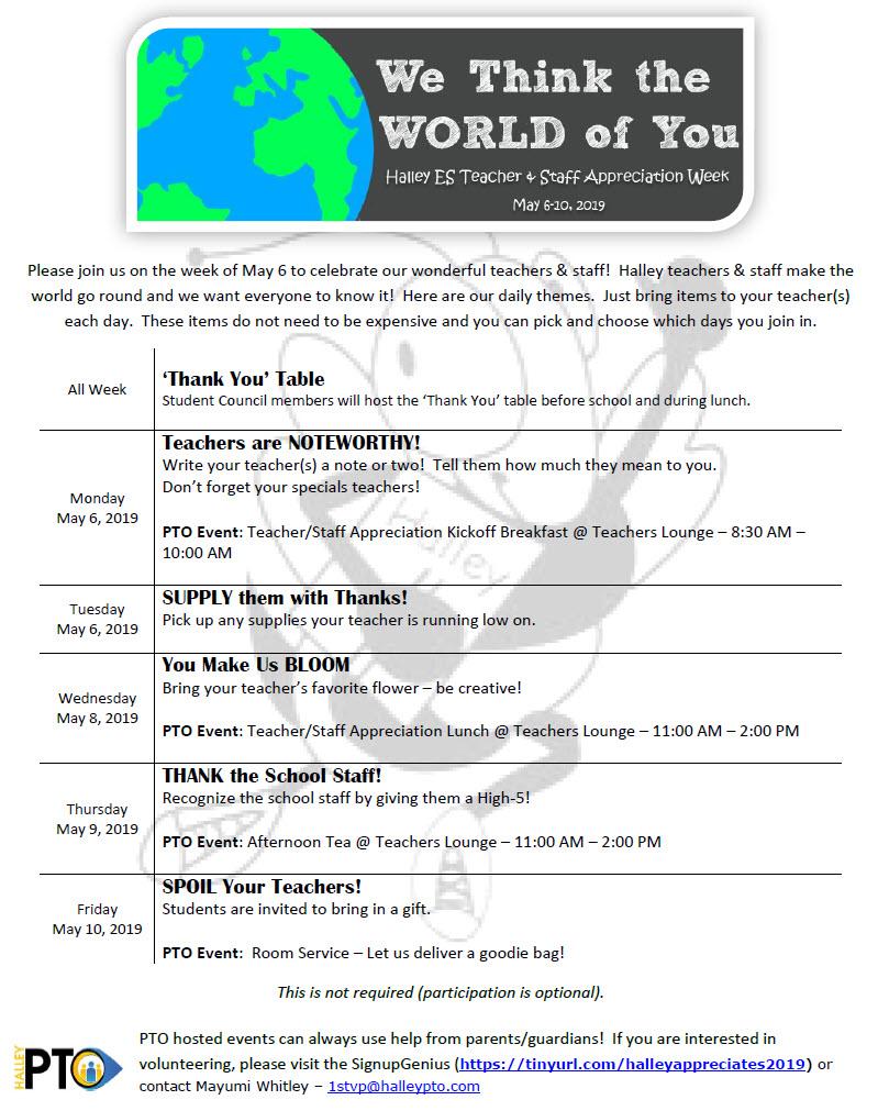 Halley Teacher Staff Appreciation Week Schedule