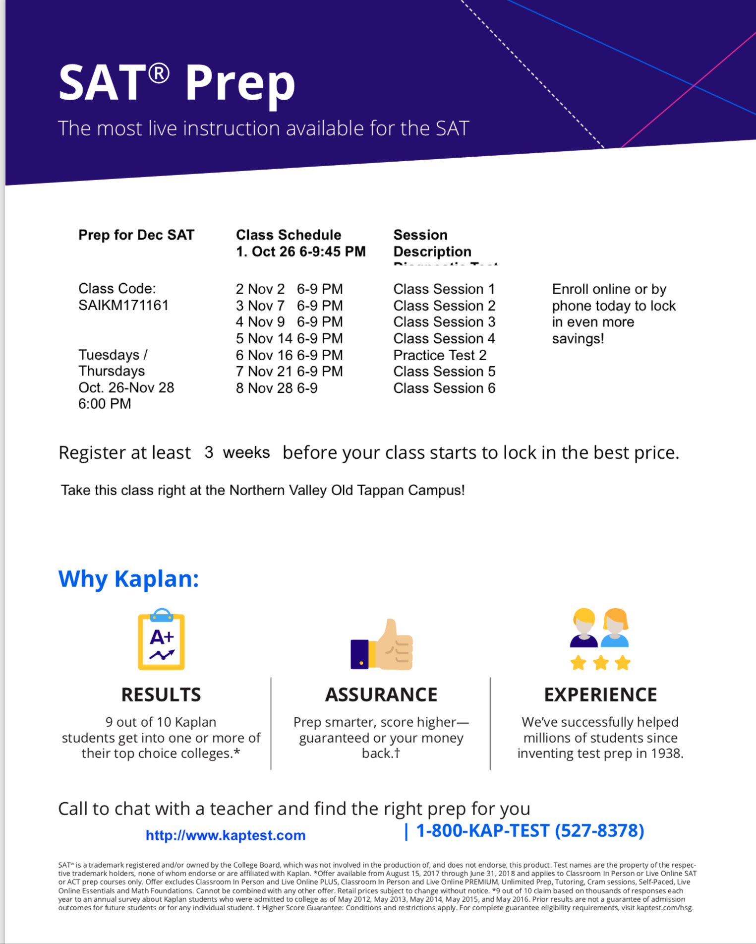KAPLAN OCT 2017 CLASSES