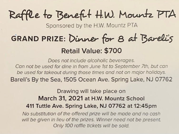 Raffle for Bareli's By The Sea Flyer